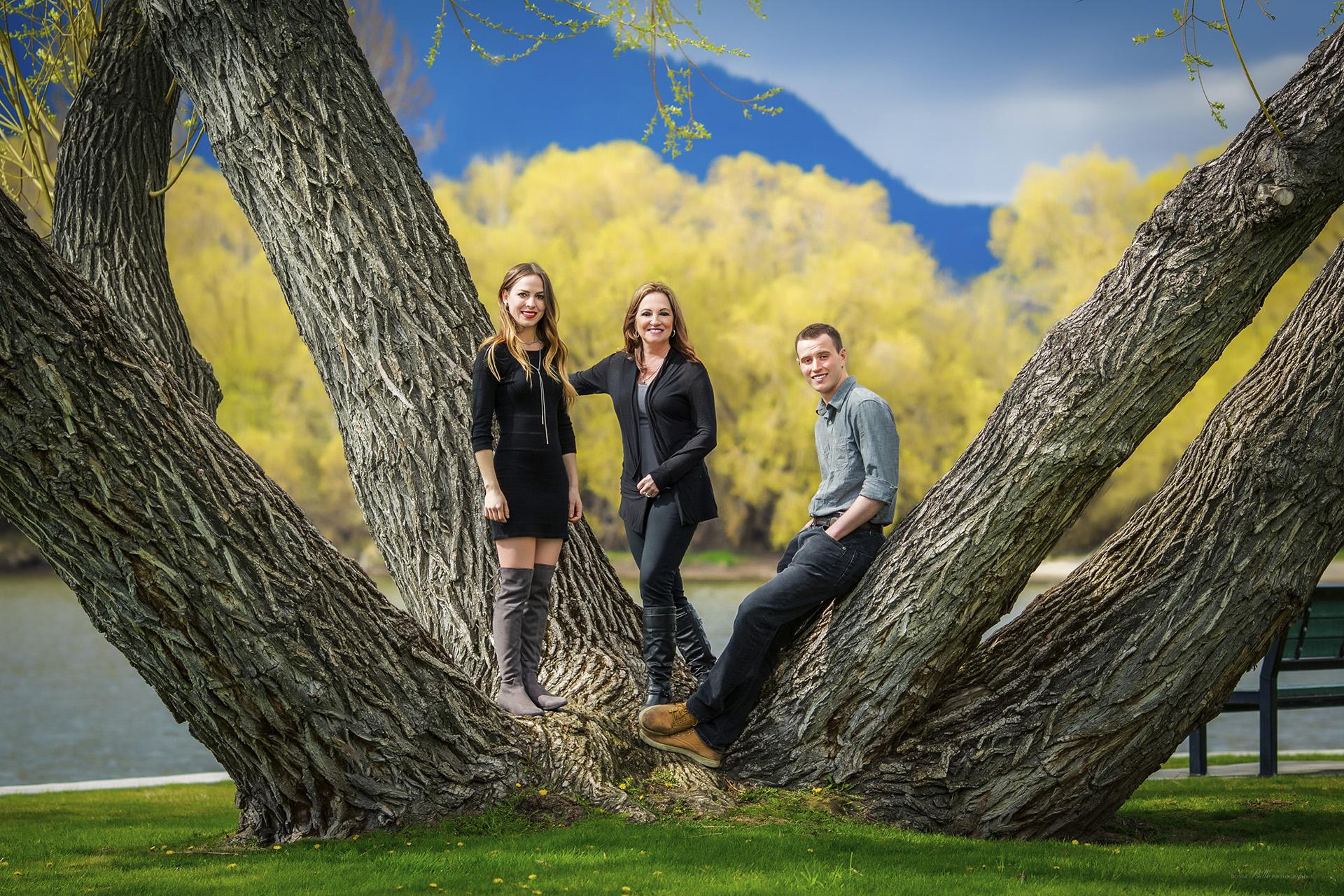 Family portrait in tree in park
